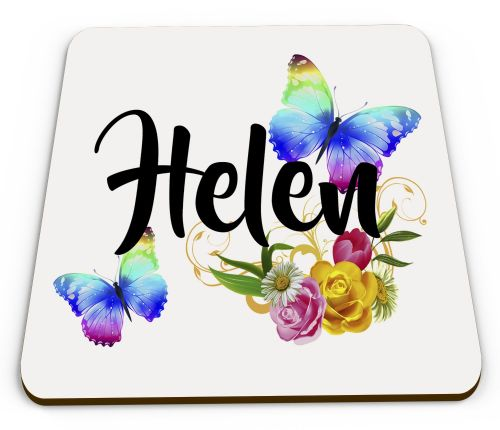 Personalised Beautiful Butterflies & Flowers Novelty Gift  Glossy Mug Coaster